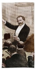 Giuseppe Verdi Leading The Opera Orchestra To The First Representation Of Aida In Paris In 1880 Bath Towel