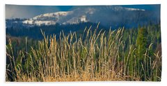 Gold Grass Snowy Peak Hand Towel