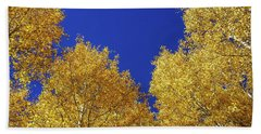 Golden Aspens And Blue Skies Hand Towel