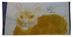 Bath Towel featuring the drawing Golden Cat by AJ Brown
