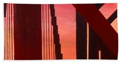 Hand Towel featuring the painting Golden Gate Art Deco Masterpiece by Rene Capone