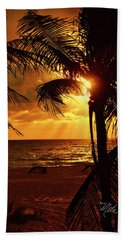 Golden Palm Sunrise Hand Towel