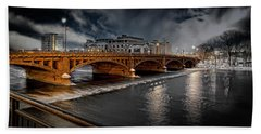 Golden Pearl Street Bridge Grand Rapids Hand Towel