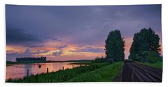 Golden Sunset Near Westlock Bath Towel
