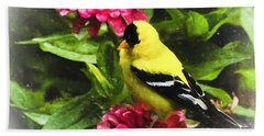 Goldfinches Love Zinnias Hand Towel