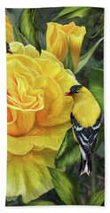 Bath Towel featuring the mixed media Goldfinches On Gold Roses by Carol Cavalaris