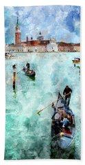 Gondola Rides And San Giorgio Di Maggiore In Venice Bath Towel