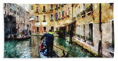 Gondola Traffic Near Piazza San Marco In Venice, Italy - Watercolor Effect Bath Towel