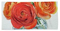 Gorgeous Ranunculus Watercolor Bouquet Bath Towel