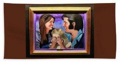 Graceland - Elvis , Priscilla, And  Lisa Marie  Hand Towel