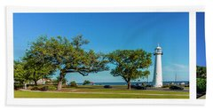 Hand Towel featuring the photograph Grand Old Lighthouse Biloxi Ms Collage A1e by Ricardos Creations