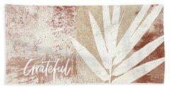Grateful Autumn Clay Leaf - Art By Linda Woods Bath Towel