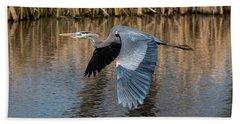 Great Blue Heron In Flight Bath Towel