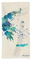 Greece Watercolor Map Custom Text Hand Towel