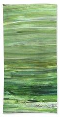 Green Abstract Meditative Brush Strokes I Hand Towel