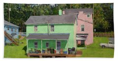 Green And Pink Houses In Fifeville Hand Towel