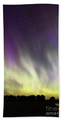 Green And Purple Fire In The Sky Bath Towel