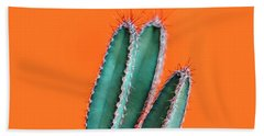 Green Cactus Closeup Over Bright Orange Pastel Background. Color Hand Towel