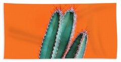 Green Cactus Closeup Over Bright Orange Pastel Background. Color Bath Towel
