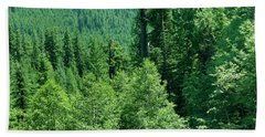Green Conifer Forest On Steep Hillside  Bath Towel