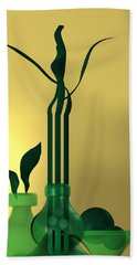 Hand Towel featuring the digital art Green Still Life Over Golden Background by Alberto RuiZ