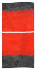 Grey And Red Abstract II Hand Towel