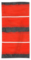 Grey And Red Abstract IIi Hand Towel