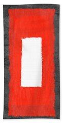Grey And Red Abstract Iv Hand Towel