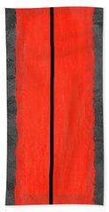 Grey And Red Abstract V Hand Towel