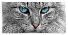 Grey Cat With Blue Eyes Bath Towel
