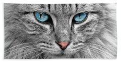 Grey Cat With Blue Eyes Hand Towel