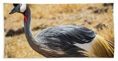 Grey Crowned Crane Hand Towel