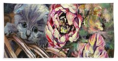 Hand Towel featuring the painting Grey Kitten In Basket Of Double Peony Floworing Tulips by Ryn Shell