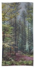 Bath Towel featuring the painting Group Of Trees In The New Forest. by Martin Davey