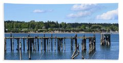 Guemes Island And Old Pier Bath Towel