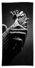 Guitarist Hand Close-up Bath Towel
