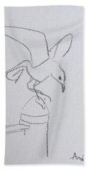 Gull On Pier Hand Towel