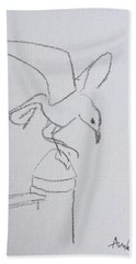 Gull On Pier Hand Towel
