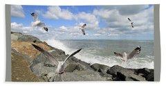 Gulls In Flight Hand Towel