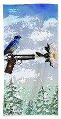 Bluebird Of Happiness- Flower In A Gun Bath Towel