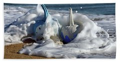Halloween Blue And White Pumpkins In The Surf Bath Towel