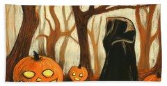 Bath Towel featuring the painting Halloween Forest by Anastasiya Malakhova