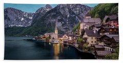 Hallstatt Village At Dusk, Austria Hand Towel