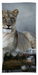 Bath Towel featuring the photograph Happy Lioness by Debi Dalio
