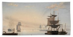 Harbor Of Boston, With The City In The Distance, 1847 Hand Towel