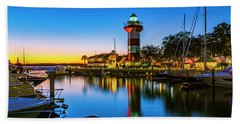 Harbor Town Lighthouse - Blue Hour Hand Towel