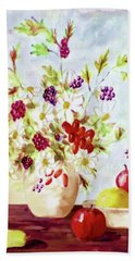 Harvest Time-still Life Painting By V.kelly Bath Towel