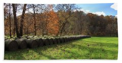 Bath Towel featuring the photograph Hay Bales On An Autumn Day by Angela Murdock