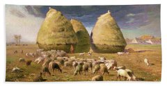 Haystacks, Autumn - Digital Remastered Edition Bath Towel