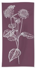 Helianthus Purple Flower Bath Towel